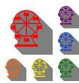 ferris wheel sign set of red orange yellow vector image