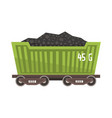 green railway wagon loaded with coal colorful vector image