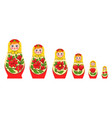 russian stacking doll set vector image