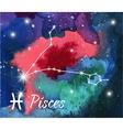 Zodiac sign on watercolor abstract galaxy vector image