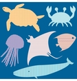 Set 2 of fish silhouettes with simple patterns vector image vector image