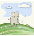cute doodle elephant vector image