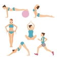 icons of people exercising at the gym and fitness vector image