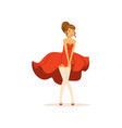 beautiful young woman with fluttering red dress vector image