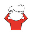 man with hands on head cartoon icon image vector image