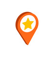 map pointer with star symbol flat isometric icon vector image
