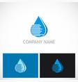 water drop line technology logo vector image