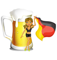 A big mug of beer at the back of a lady holding vector image vector image
