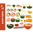sushi rolls and japanese cuisine icons for vector image