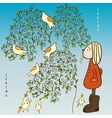 Early spring and a girl in felt brown boots vector image