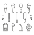 Microphones outline icons vector image vector image