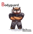 Alphabet professions Owl Letter B - Bodyguard vector image