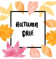 Autumn sale background with colored leaves vector image