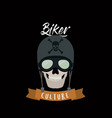 biker culture poster with skull motorcyclist with vector image