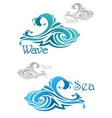 Blue and teal ocean waves icons vector image