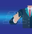 businessman hand touching button organization vector image