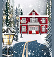 red house winter snowy background fir trees road vector image