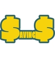 Savings word outline with s letter as dollar vector image