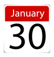 Simple Calendar Date January 30th vector image