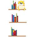 A cat holding an empty board sitting at the shelf vector image vector image