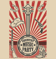ountry music party poster template vintage banjo vector image vector image