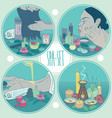spa set round healthcare with girl vector image