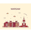 Warsaw skyline silhouette linear vector image