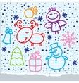 christmas hand drawn design vector image vector image