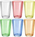 Water glass in six different colors vector image