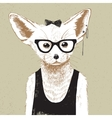 Hand drawn dressed up fennec in hipster style vector image
