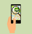 smartphone with supermarket location map vector image