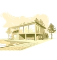 sepia background with modern house with swimming vector image vector image