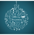 Merry Christmas post card template vector image
