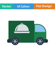 Flat design icon of Delivering car vector image vector image