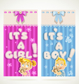 Blue for boy and pink for girl vertical banner vector image