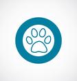 cat footprint icon bold blue circle border vector image