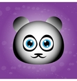 Cute face of panda on violet backgraound vector image