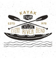 kayak and canoe vintage label hand drawn sketch vector image