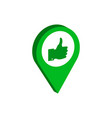 map pointer with thumb up symbol flat isometric vector image