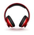Realistic Red headphones isolated on white vector image