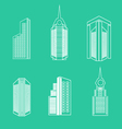 set linear buildings vector image