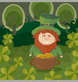 stpatricks day leprechaun with a pot of gold vector image