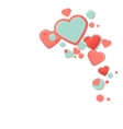 Pink hearts with drops Valentines Day Greeting vector image