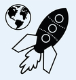 rocket ship and earth vector image vector image