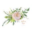 Bouquet element of pink garden rose green vector image