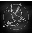 Icon bird for tattoo isolated on black chalkboard vector image