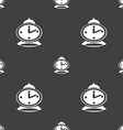 alarm clock icon sign Seamless pattern on a gray vector image