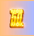 award number 50 banner gold object vector image