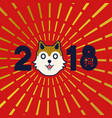 chinese new year 2018 gold shiba inu dog card vector image