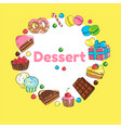 frame of sweets set of candy and cakes vector image